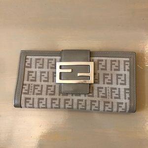 Fendi Beige Logo Long Flap Wallet